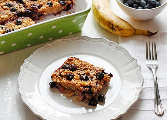 Baked Oatmeal with Blueberries and Bananas, Bananas, Baked