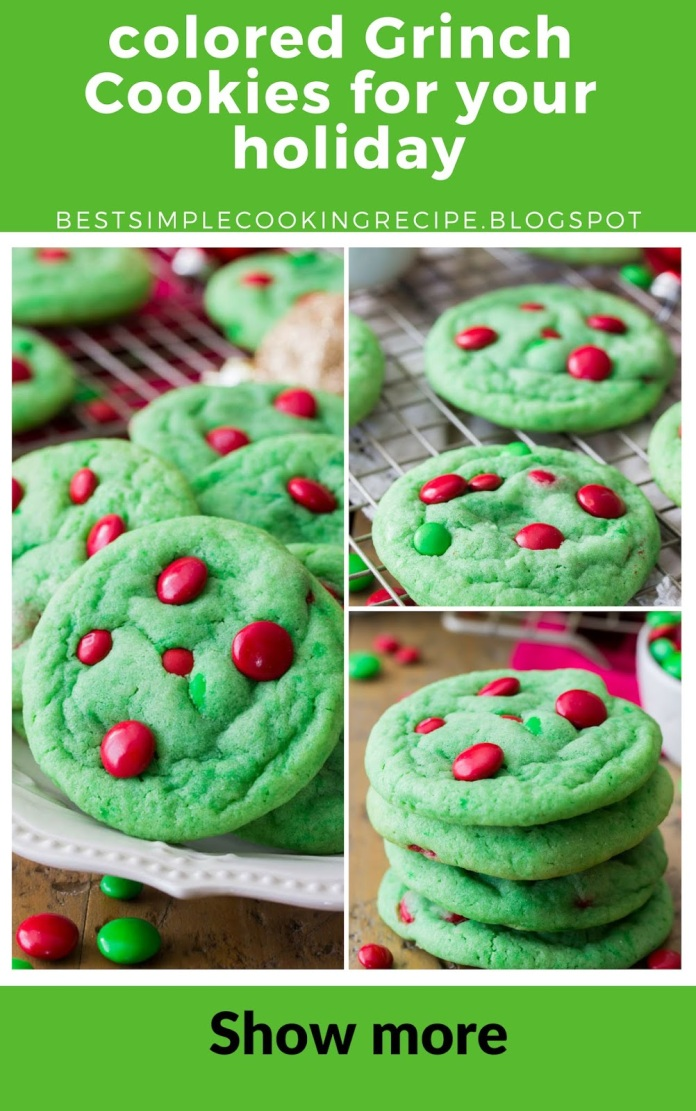 colored Grinch Cookies for your holiday
